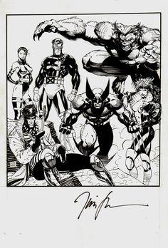Comic Art For Sale from RomitaMan Original Art, X-Men #1 Promo Cover (1991) by Comic Artist(s) Jim Lee