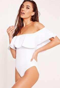 ABAD x Missguided Frill Bardot Swimsuit White - Missguided