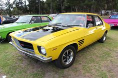 Chrome Yellow. The HQ Holden was built from July 1971-Oct 1974. The HQ was the most significant redesign yet. a completely new body and chassis, coil suspension and engines cubic capacity enlarged. Available in Sedan, 2 door Coupe (Monaro), Wagon, Utility and Panel Van. The base model was the Belmont, mid spec was the Kingswood, and top was the Premier. Performance cars were SS, Monaro GTS and GTS350 With the HQ series, the Brougham was dropped and the new long wheelbase Statesman intro... Australian Muscle Cars, Aussie Muscle Cars, Holden Premier, Hq Holden, Holden Kingswood, Holden Australia, Holden Monaro, Supermarine Spitfire, Performance Cars
