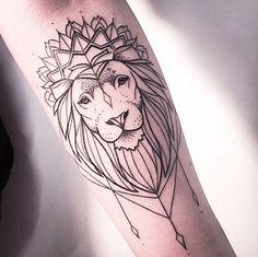 Lion dotwork tattoo serene
