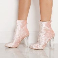 Amaris Velvet Pink Ankle Boots with Perspex Heel More #ankleboots
