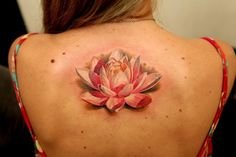 Pink and White Back Lotus Tattoo – Dmitriy Samohin I love how they shaded this! It looks so real!