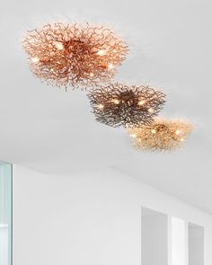 Three in a row: the Hollywood ceiling light in the finishes copper, bronze and brass. For more information about the Hollywood collection, visit our website Copper, Brass, Modern Chandelier, Modern Interior, Hollywood, The Row, Modern Design, Van, Bronze