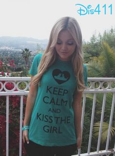 "Olivia Holt In A Super Cute ""Kiss The Girl"" Shirt April 30, 2013"