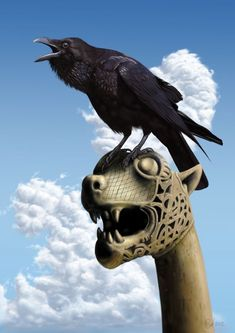 Vikings: carving and raven. Raven And Wolf, Quoth The Raven, Viking Raven, Viking Ship, Viking Art, Raven Art, Jackdaw, Photo Portrait, Crows Ravens