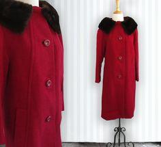 Vintage Red Wool Coat with Fur Collar Vintage Coat by DustyDesert