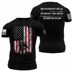 When you disrespect our flag, your disrespect those who died defending your freedom. Enlisted Nine's Defending Your Freedom Tee is an ultra-comfortable and soft men's black cotton shirt. Grunt Style Shirts, Shirt Style, Cool Shirts, Tee Shirts, Awesome Shirts, Usa Shirt, Shirt Men, Mens Patriotic Shirts, Custom Made T Shirts