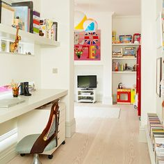 Playroom home office with floating desk and shelf