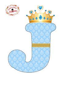 Alfabeto con Arabescos Celestes y Corona Dorada. | Oh my Alfabetos!