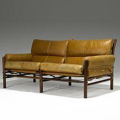 Arne Norell; Jacaranda, Leather and Brass Sofa, 1960s.