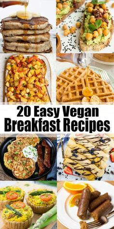 Start your day off right with one or a few of these 20 vegan breakfast recipes! … Start your day off right with one or a few of these 20 vegan breakfast recipes! They're all extremely delicious, easy to make, and just perfect for a relaxed breakfast on th Vegan Foods, Vegan Dishes, Tofu, Gourmet Recipes, Vegan Recipes, Easy Recipes, Healthy Vegan Breakfast, Vegetarian Recipes For Breakfast, Snacks Sains