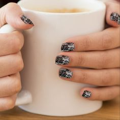 Black and White lace-look Minx Nail Wraps  $25.75  by harcordvalleyranch  - cyo customize personalize diy idea