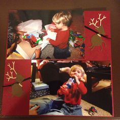 Christmas with Kole, my godson; Page 4: This is a 8 by 8 scrapbook page featuring reindeers made with Cricut machine Christmas Cheer cartridge.