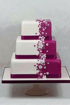 Plum and White 3 Tier Square Cake