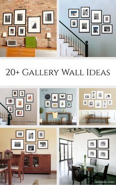 20+ Gallery Wall Ideas *Love the stairway galleries. Great examples for bringing together photography, family, and art...