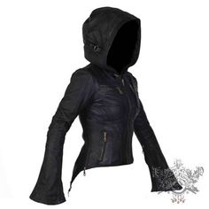 This Jan Hilmer Leather jacket is amazing. It has a great giant hood, large bell sleeves, great style lines on...
