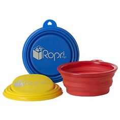 Collapsible Dog Bowl for Dog Food and Water. Foldable, Portable and Food Safe Travel Bowl. The RopriPet Travel Mate Bowl. >>> Visit the image link more details.