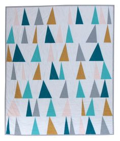 New Modern Baby Quilt  Geometric Triangles / White by owensolivia, $199.00