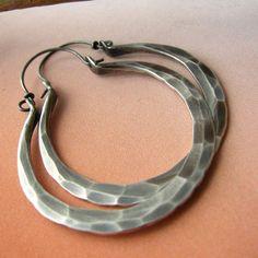 Large Artisan Sterling Silver Hoops -   Rio Hoops Metalsmithed Earrings.