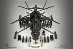 Fuujin Attack Helicopter Render by *MeganeRid on deviantART