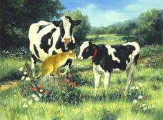Linda Picken Art Studio / Dairy Cow Cat and Calf.jpg