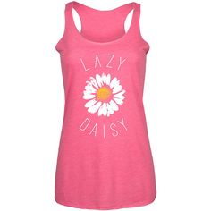 LC Trendz Women's Hot Pink 'Lazy Daisy' Racerback Tank ($15) ❤ liked on Polyvore featuring tops, racer back tank top, pink tank top, daisy tanks, racerback tank and floral print tank top