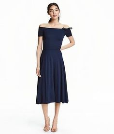 H&M Trend Conscious Midi Off the Shoulder Jersey Dark Blue Dress sz 2 | eBay