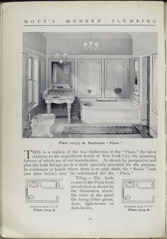 This is the tile pattern we're thinking about using in our shower! Mott's Iron works catalog 1911. Modern plumbing No. 6