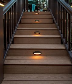 Lights in deck steps love this for deck project outdoor space stair lights not only do you want to enjoy your deck but you want to do it safely at all hours of the day or night timbertechs riser lights positioned aloadofball Gallery