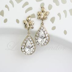 Vintage Wedding Bridal Earrings Leaves Dangle by LuluSplendor, $49.00