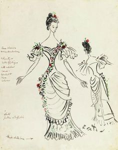 Costume design for Carol Lawrence for 'Saratoga', 1959, by Sir Cecil Beaton - Via @♚Mercy Saint-Denis♚