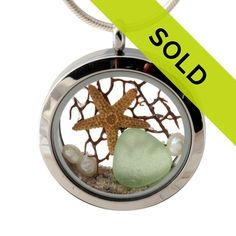 Seaside Dreaming - Genuine Sea Glass, Starfish & Beach Sand - Locket Necklace