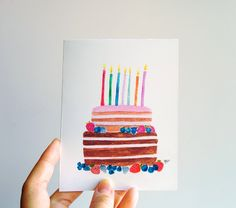 Inclusive Braille Handmade Birthday Cake Watercolor Greeting Cards (4.00 USD) by InclusiveGreetings