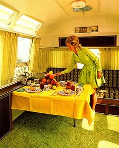 This cracks me up. This is EXACTLY how I look when I go camping. Tejas Airstream: Interior from 1971 Airstream Land Yacht, Airstream Campers, Retro Campers, Camper Trailers, Happy Campers, Vintage Campers, Airstream Living, Vintage Rv, Vintage Airstream