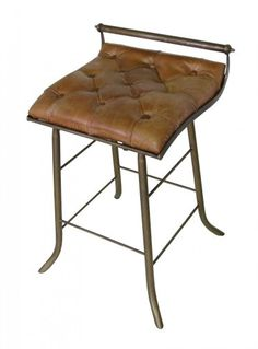 Seelback barstool.  Tufted leather stool with iron base. Seat measures 19