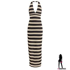 Black and Gold Metallic Striped Halter Maxidress 8 New from H & M, black and metallic gold striped halterneck maxidress. Short dress lined. Dress is 67% rayon, 17% nylon, and 16% metallic fiber. Very stretchy. Machine wash. Size 8 H&M Dresses Maxi