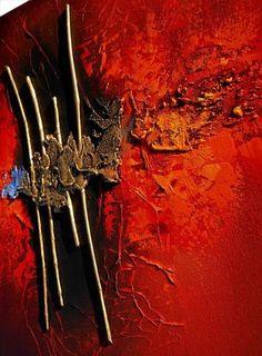 """Tableau abstrait contemporain """"PASSAGE"""" toile peinture moderne en relief (bois) noir doré rouge orange bleu"""