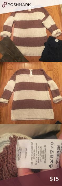 Cotton On Sweater Fun, slouchy sweater with 3 button detail at back of neck. Colors are a deep mauve & cream. I know the stripes appear brown, but I just couldn't get the lighting right. Definitely a mauve color. 3/4 rolled sleeve. Cotton On Sweaters