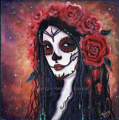 ORIGINAL Dreaming of you Day of the Dead by TheArtOfReneeLLavoie