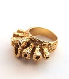 Modernist Brutalist Ring Vintage Gold Pewter 1960s by Hopea20, Etsy