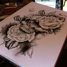 Skull + roses #tattoo #tattoos #tattooflash #watercolor #watercolour #painting #skull #roses #rose #illustration #doodle #design #drawing #sketch #woodfarm