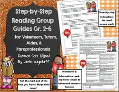 Got help?  Great!  Getting the targeted help you need?  PRICELESS!  This packet includes step-by-step, 1 page guides for meeting with small groups for reading practice with a focus on comprehension.  The guides are written to be used by parent volunteers, tutors, aides or other paraprofessionals.