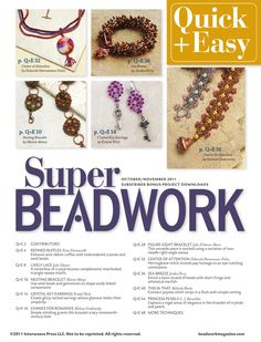 Beadwork quickeasy oct nov 2011 by Carmen Maldonado...FREE BOOK , PATTERNS AND INSTRUCTIONS!!