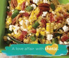 Corn, Bacon and Feta Salad - Recipes Bacon Salad, Feta Salad, Salad Bar, Side Salad, Lard, Vegetable Salad, C'est Bon, Salad Recipes, Bacon Recipes