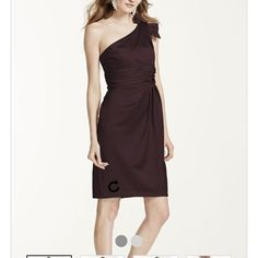 Chocolate Satin One Shoulder Dress With Ruching