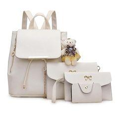 4PCS SET Large Capacity Soft PU Leather Composite Bag Korean Fashion Solid  Color Women Ladies Messenger Single Shoulder Bag f3901acfdbf80