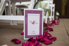 Modern, fuchsia wedding program
