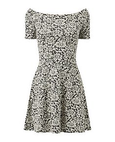 Black Daisy Bardot Neck Skater Dress  | New Look