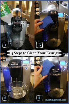 How to clean your Keurig coffee maker in 4 steps using vinegar.  Quick and easy cleaning from Cha Ching Queen.