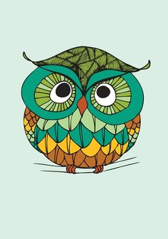 Grumpy owl, Print 30x42 cm på Nordic Design Collective